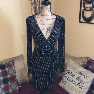Black Long-Sleeve Dress with Rhinestones by Xtaren